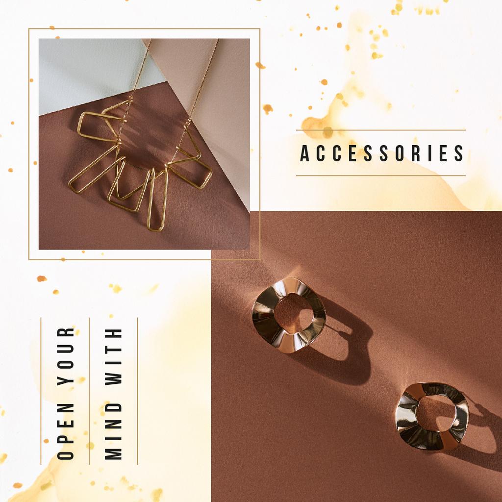 Shiny earrings and necklace Instagram Modelo de Design