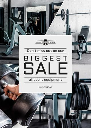 Sports Equipment Sale with Gym View Poster Modelo de Design