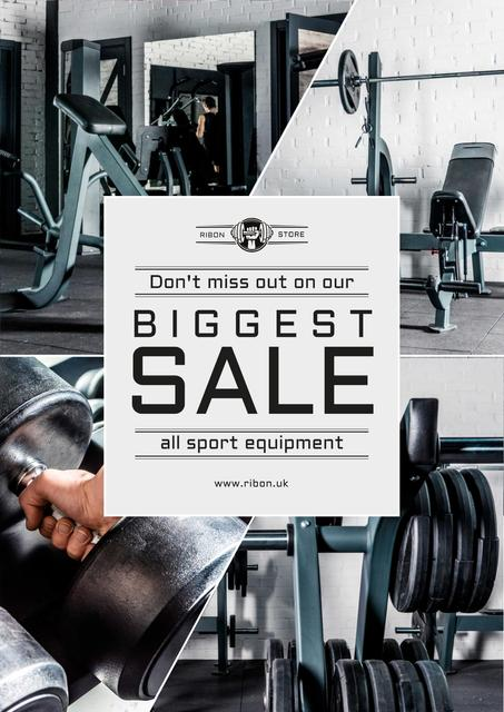 Sports Equipment Sale with Gym View Poster – шаблон для дизайну