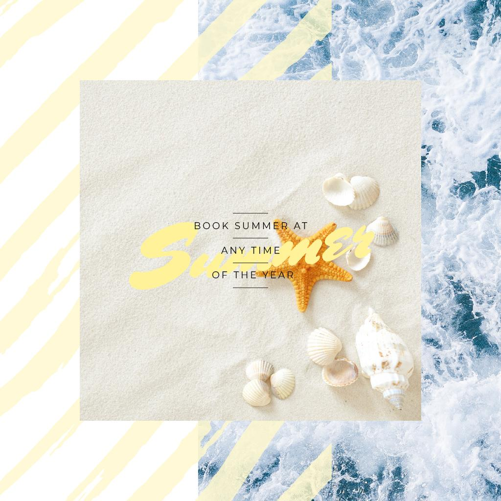 Ontwerpsjabloon van Instagram AD van Travel Tour Ad Shells on Sand by the Sea