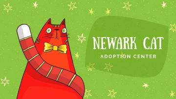 Adoption Center Ad Red Cat with Bow Tie