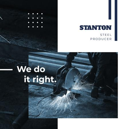 Steel Production Man Cutting Metal Instagram AD Design Template