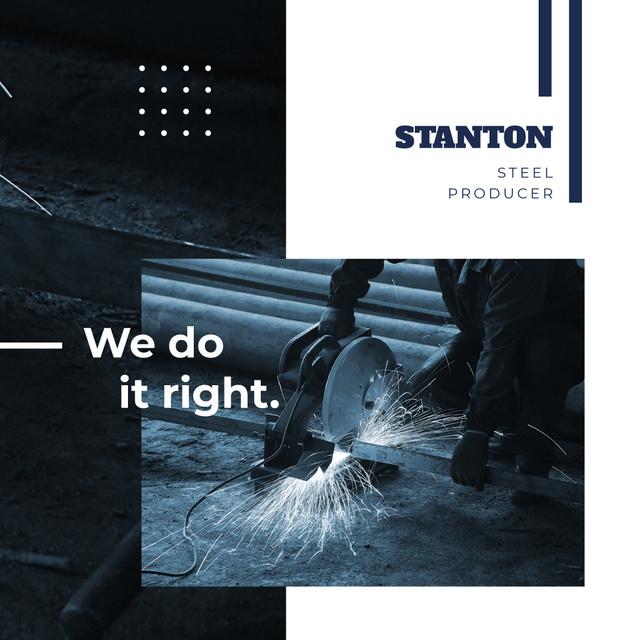 Steel Production Man Cutting Metal Instagram AD Modelo de Design