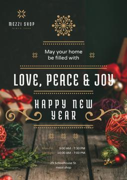 New Year Greeting Decorations and Presents | Poster Template