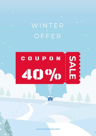 Winter Offer with Snowy Landscape Poster – шаблон для дизайну