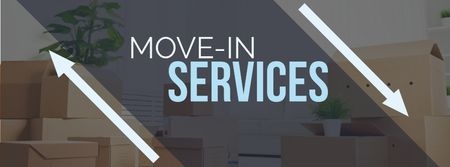 Plantilla de diseño de Move-in services with boxes Facebook cover