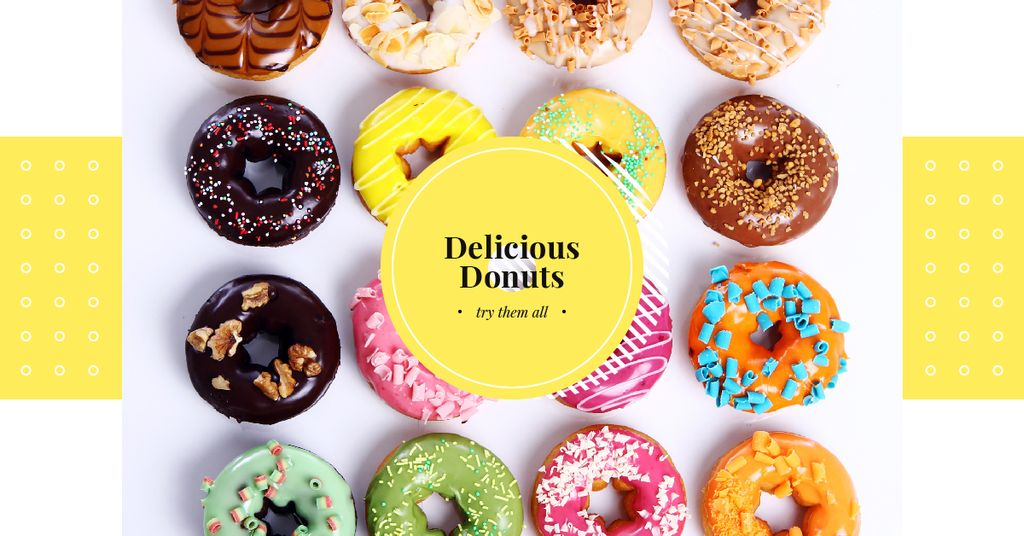Sweet Colorful Donuts in Rows | Facebook Ad Template — Créer un visuel