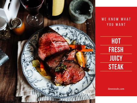 Hot fresh juicy steak Presentation Modelo de Design