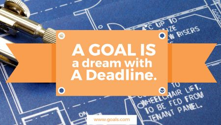 Plantilla de diseño de Goal motivational quote on blueprint Title