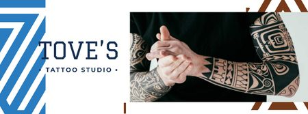 Plantilla de diseño de Tattoo Studio ad Young tattooed Man Facebook cover
