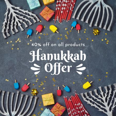 Template di design Happy Hanukkah holiday sale Instagram AD