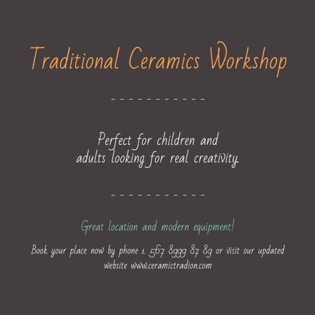 Traditional Ceramics Workshop promotion Instagram AD Modelo de Design