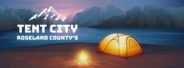 Template di design Fire burning by tent camp Facebook Video cover