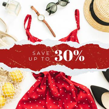 Clothes Sale Fashion Look Composition in Red | Instagram Ad Template