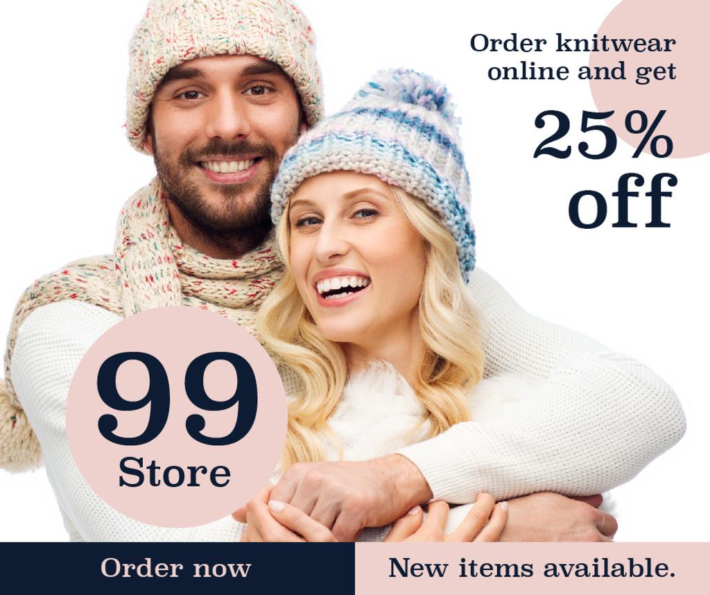 Knitwear store ad couple wearing Hats — Crear un diseño