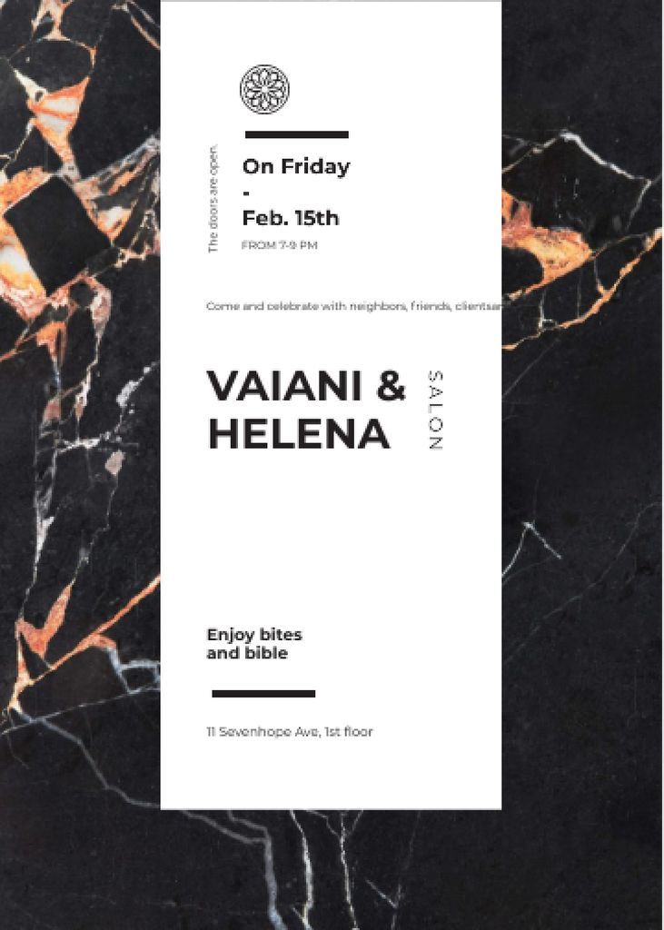 Salon ad on Marble dark texture Invitation – шаблон для дизайна