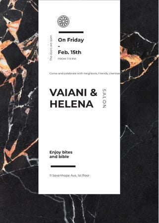 Template di design Salon ad on Marble dark texture Invitation