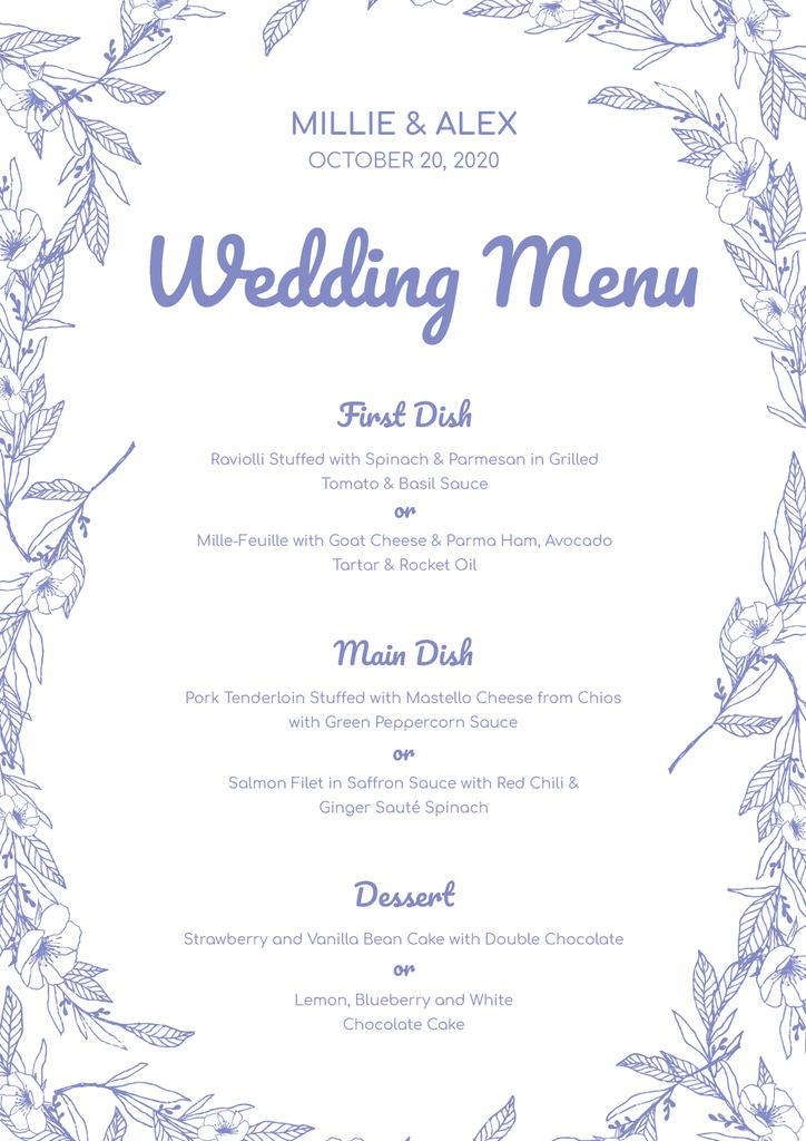 Wedding Meal list on Floral pattern — Maak een ontwerp