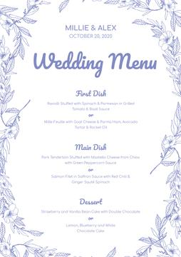 Wedding Meal list on Floral pattern