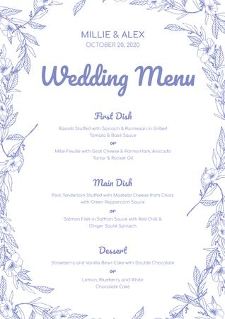 Wedding Meal list on Floral pattern Menu Tasarım Şablonu