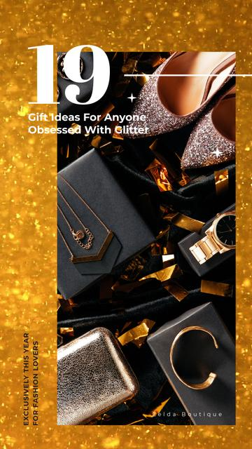 Party Outfit with Shiny Shoes and Accessories Instagram Video Story Design Template