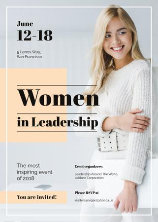 Confident smiling woman at Leadership event Invitation Modelo de Design