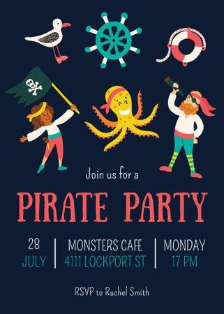 Plantilla de diseño de Pirate Party Announcement with funny characters Invitation