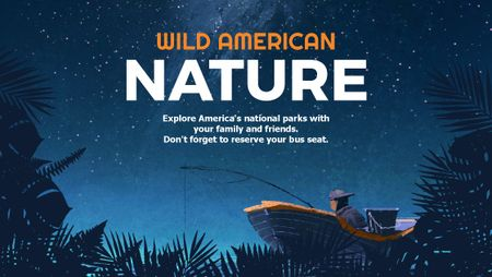 Plantilla de diseño de Wild american nature night Forest Title