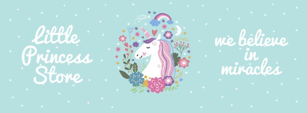 Kids' store ad Unicorn in flowers frame — Créer un visuel