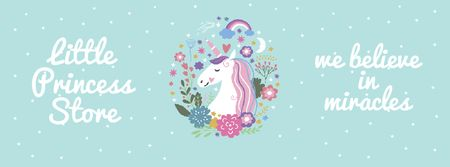 Plantilla de diseño de Kids' store ad Unicorn in flowers frame Facebook Video cover