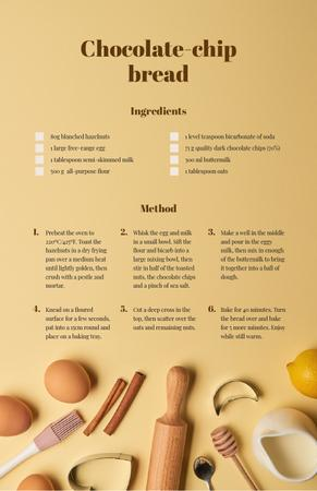 Chocolate Chip Bread Recipe Card Modelo de Design