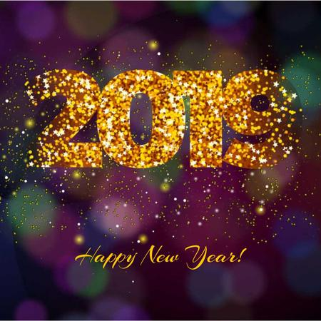 Template di design New Year Greeting with Shining glitter numbers Animated Post