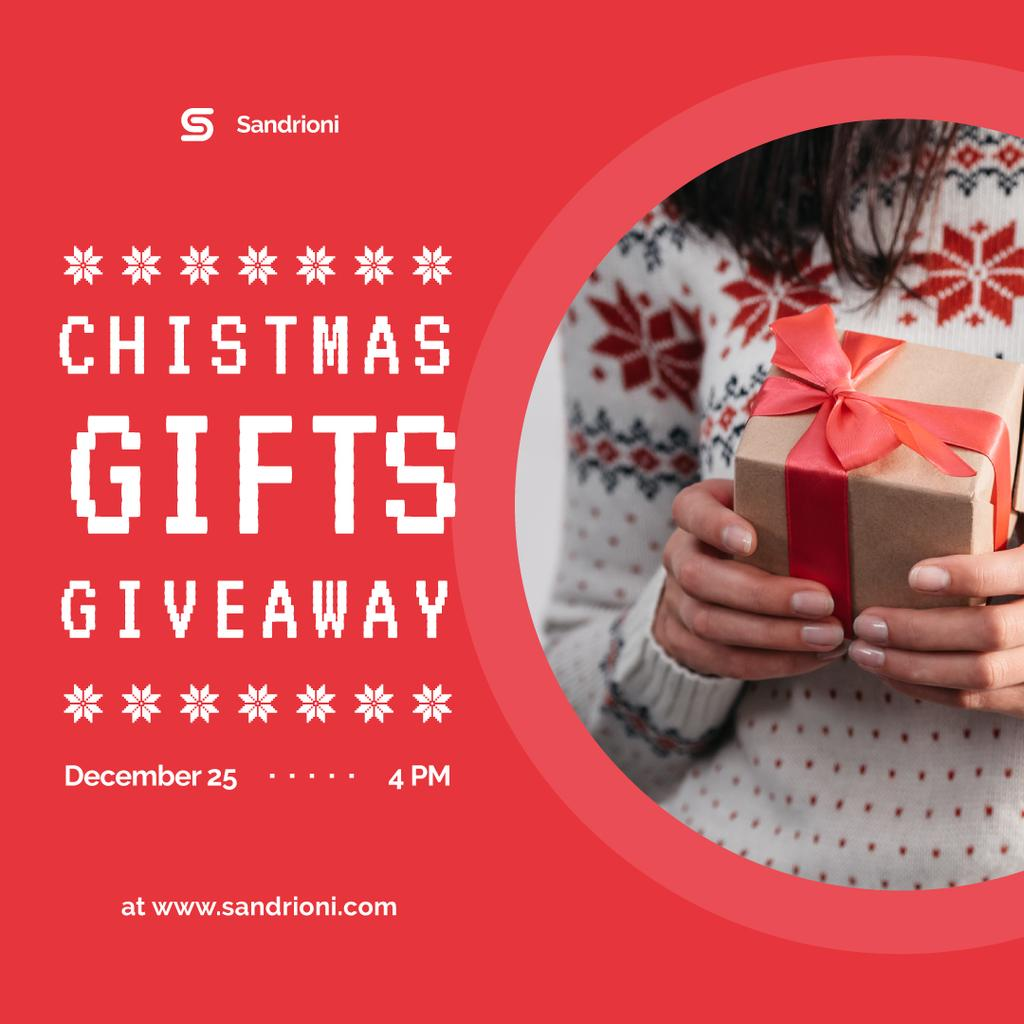 Christmas Giveaway Woman Holding Gift Box — Create a Design
