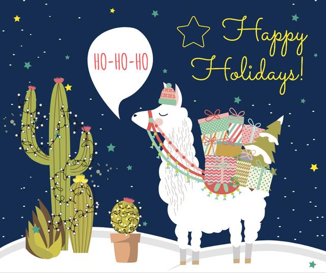 Modèle de visuel Christmas lama with gifts - Facebook