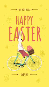 Bunny riding bicycle with egg
