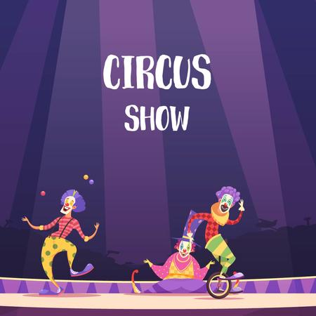 Modèle de visuel Clowns on circus arena - Animated Post