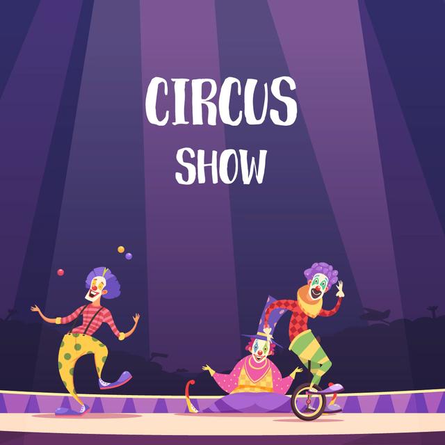 Plantilla de diseño de Clowns on circus arena Animated Post