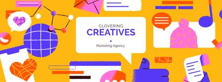 Creative Marketing Agency ad Facebook cover Modelo de Design