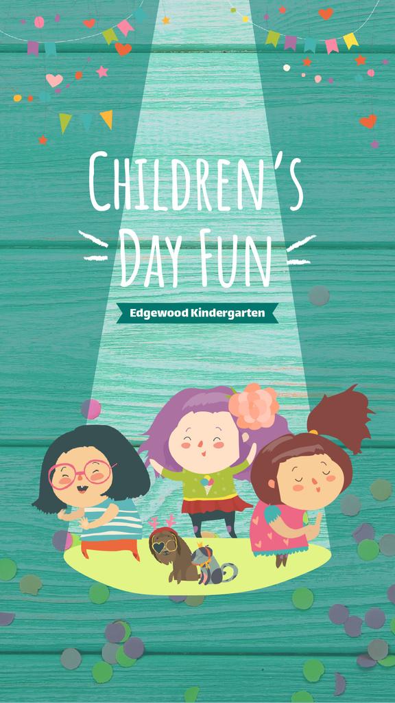 Children's Day Greeting Kids Dancing and Having Fun | Vertical Video Template — Создать дизайн