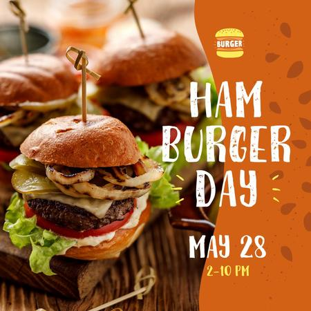 Ontwerpsjabloon van Instagram van Hamburger Day Menu Hot Mouthwatering Burgers