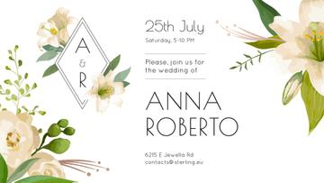 Wedding Invitation Tender Flowers Frame | Facebook Event Cover Template
