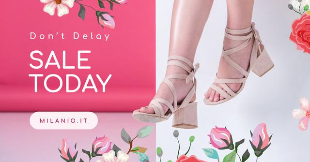 Ontwerpsjabloon van Facebook AD van Fashion Sale Woman in Heeled Shoes