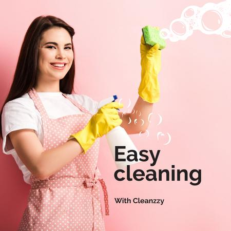 Template di design Cleaning Services Worker spraying detergent Instagram