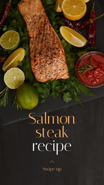 Seafood Offer raw Salmon piece Instagram Story Design Template