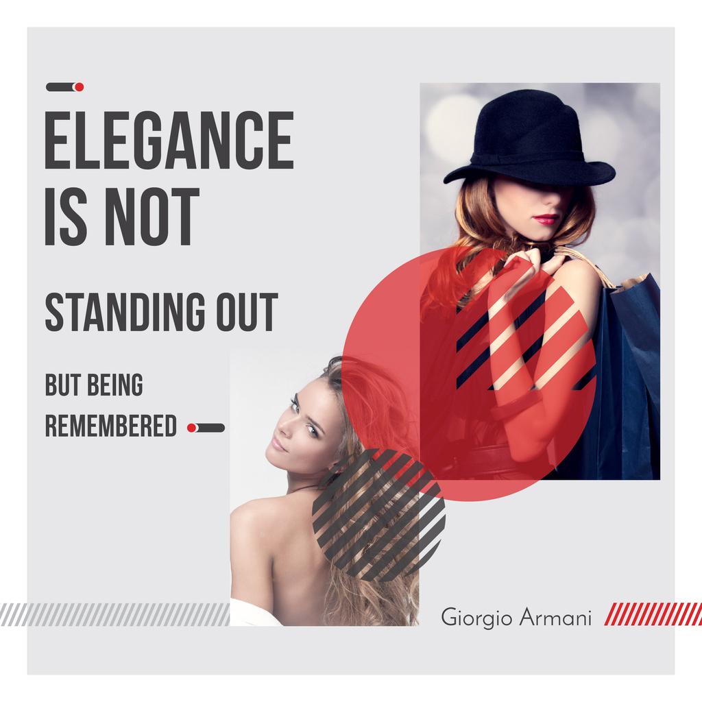 Shopping Quote Stylish Woman in Hat — Crear un diseño