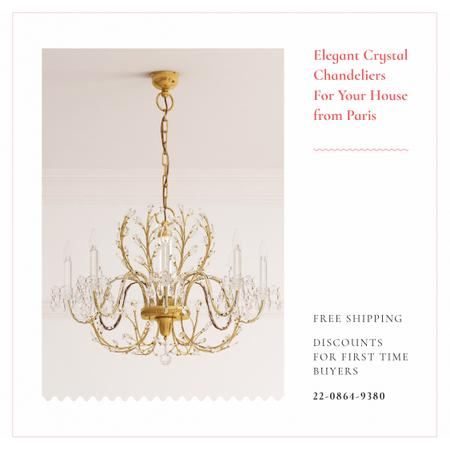 Plantilla de diseño de Elegant crystal Chandelier offer Instagram AD