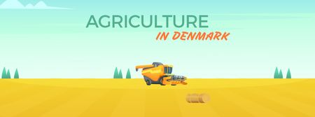 Designvorlage Harvester working in field für Facebook Video cover