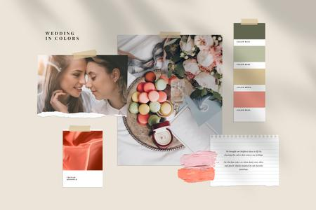 Tender colors Palette for Wedding Mood Board Modelo de Design