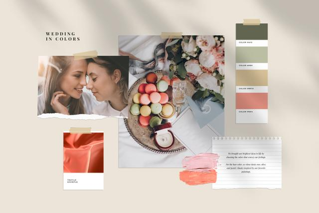 Ontwerpsjabloon van Mood Board van Tender colors Palette for Wedding