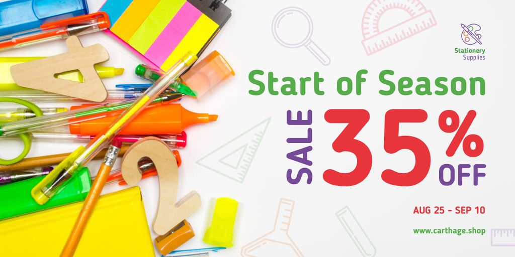 Back to School Sale Stationery on White — Crea un design
